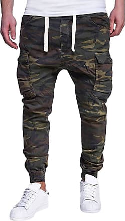 TOMWELL Mens Casual Fashion Camouflage Cargo Trouser with Pockets Elasticated Waist Harem Pants Straight Leg Chinos Jogger Army Green XX-Large