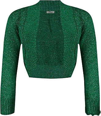 ZEE FASHION New Ladies Womens Long Sleeve Shiny Knitted Metallic Lurex Shrug Bolero Cardigan Top Size 8-38 Green