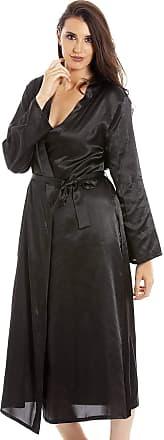 Camille Womens Black Long Satin Wraps 22/24 Black