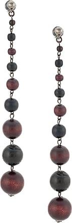 Oscar De La Renta bead drop earrings - Brown
