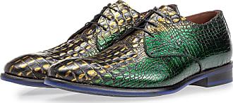Floris Van Bommel Schnürschuh grünes Krokoleder, Business Schuhe, Designer Schuh, Handgefertigt