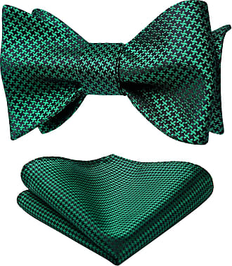 Hisdern Check Dot Houndstooth Party Self Bow Tie Handkerchief Mens Self Bow tie & Pocket Square Set Green/Black