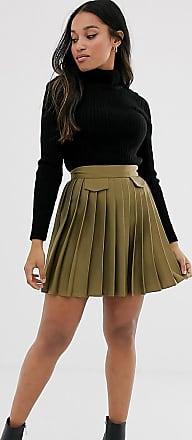 River Island Petite pleated mini skirt with in khaki-Green
