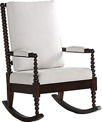 ACME ACME Furniture 59523 Tristin Rocking Chair Cream Fabric and Walnut