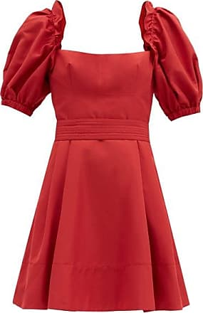 Self Portrait Self-portrait - Puffed-sleeve Taffeta Mini Dress - Womens - Red