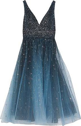 Marchesa Marchesa Notte Woman Glittered Degradé Tulle Midi Dress Storm Blue Size 16