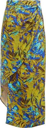 Raey Asymmetric Uv Floral-print Silk Skirt - Womens - Blue Print