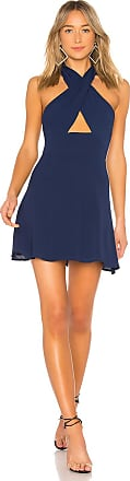Superdown Ember Halter Fit & Flare Dress in Navy