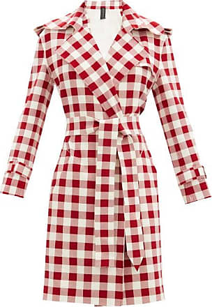 Norma Kamali Double-breasted Gingham Trench Coat - Womens - Red White