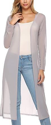 Abollria Waterfall Cardigan for Women Summer Lightweight Long Sleeve Open Front Cardigans Grey