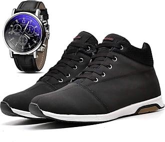 Juilli Kit Sapatênis Tênis Cano Médio Casual Com Relógio Masculino Juilli 1101DB Tamanho:43;cor:Preto;gênero:Masculino