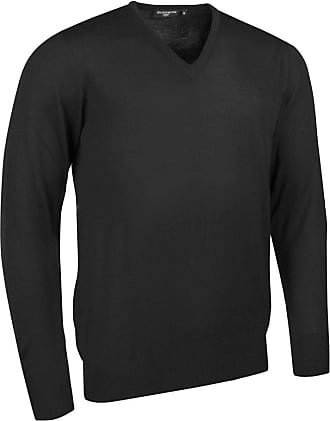 Glenmuir Mens MKM7216VN V Neck Merino Wool Golf Sweater Black XL