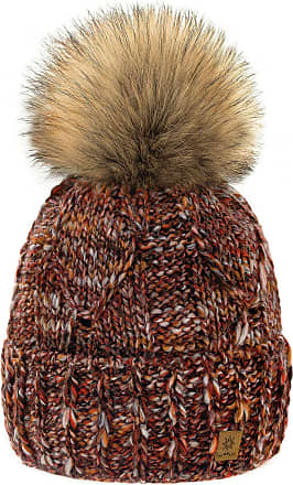 4sold Womens Ladies Chunky Soft Cable Knit Handmade Hat Natural Alpaca Wool Inside Cosy Fleece Liner Faux Fur Pom Pom (Chili)