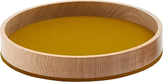 Hey-Sign Bowl Holzschale M - Filz senfgelb/Filz in 5mm Stärke/H 4.5cm / Ø 26.5cm/Eiche massiv geölt