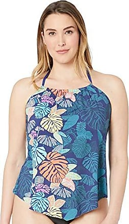 dc22750750363 Delivery: free. 24th & Ocean Womens Plus Size High Neck Halter Handkerchief  Tankini Swimsuit Top, Navy/