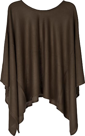 styleBREAKER fine-Knit Poncho Lightweight and Plain Colours, Round Neck, Ladies 08010047, Color:Olive