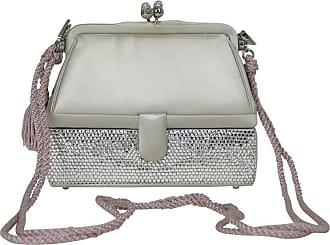4661013b0569f Judith Leiber Silver Satin   Swarovski Crystal Two Tier Minaudiere Evening  Bag