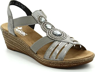 39d99efa40e Rieker 62459-40 Fawnbling Pewter Womens Wedge Sandals