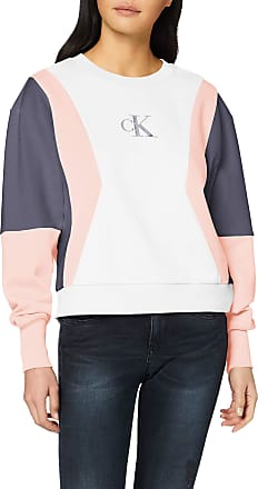 Calvin Klein Jeans Womens Color Block Crew Neck Sweatshirt, White (Bright White/Pink/Abstract Grey Yaf), 12 (Size:L)