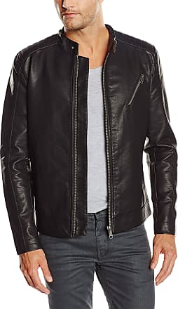 Only & Sons Only and Sons Mens ONSSOREN Leather Long Sleeve Jacket, Black, Medium