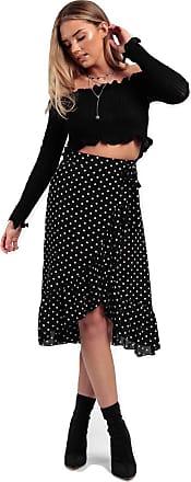 Momo & Ayat Fashions Ladies Tie Leopard Print Wrap Frill Midi Ruffle Skirt UK Size 6-14 (Black Polka, UK 8 (EUR 36))
