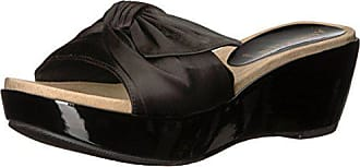 Anne Klein Womens Zandal Wedge Sandal Slide, Black Fabric, 8 Medium US