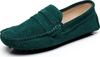 Jamron Womens Classic Suede Penny Loafers Comfort Handmade Slipper Moccasins Dark Green 24208 UK6.5