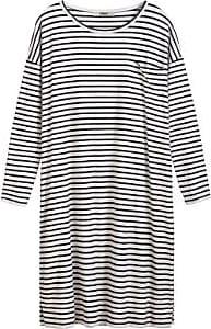 Zenggi Schwarzes bretonisches Streifen-T-Kleid - L/XL