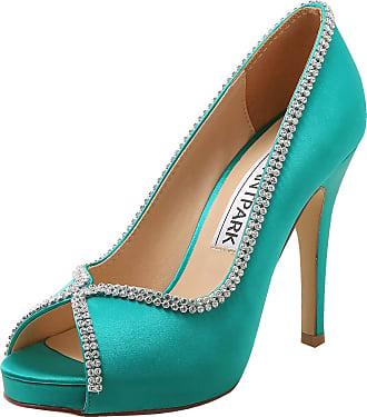 Elegantpark EP11083-IP Women High Heels Rhinestones Peep Toe Pumps Satin Bridal Party Court Shoes Teal UK 5