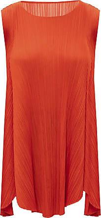 Issey Miyake Pleated Sleeveless Dress Womens Red