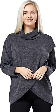 Zeta Ville Zeta Ville - Womens Maternity Nursing Top Thin Knit Layered Wrap Design - 370c (Black Melange, UK 16/18, XL)