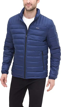 DKNY Mens Water Resistant Ultra Loft Quilted Packable Puffer Jacket Down Alternative Coat, New Navy, Large