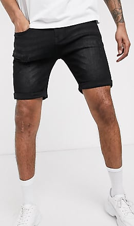 Soul Star Tall - Skinny-fit denim short met stretch in zwart