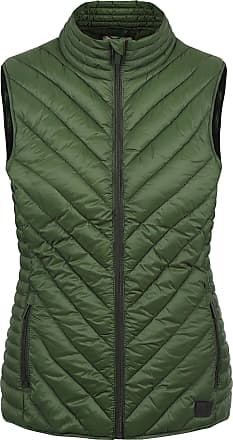 Blend Sadie Womens Quilted Gilet Vest Body Warmer with Funnel Neck, Size:L, Colour:Duffle Bag Green (77019)