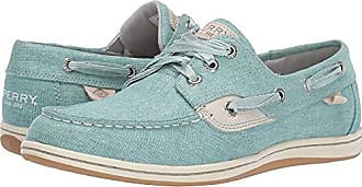 Sperry Top-Sider Womens Songfish Linen Boat Shoe, Aqua, 120 M US