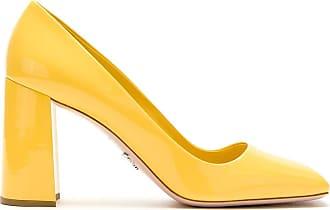 Prada Scarpin de couro bico quadrado - Amarelo