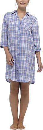 Foxbury Ladies Cotton Plaid Check Nightshirt / Nightdress Violet or Blue Size 8/10,12/14,16/18 (12/14 - 44, Blue)