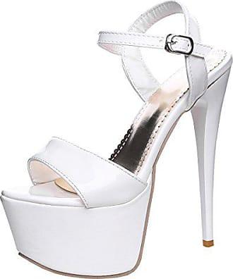 a73eeba3aeff21 Agodor Damen Plateau High Heels Riemchen Sandalen mit Schnalle und Stiletto  Lack Pumps Elegant Schuhe