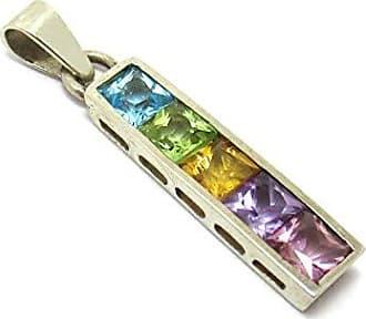 Boreale Joias Pingente Prata 925 Rainbow Com 5 Pedras Natuais Carre
