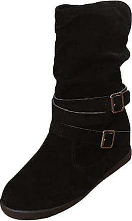 junkai Women Vintage Style Suede Martin Boots Flat Heel Solid Color Buckle Slouch Western Boots of Feet Ankle Boots Black