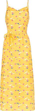 HVN Vestido midi Josephine com estampa de gaivota - Amarelo