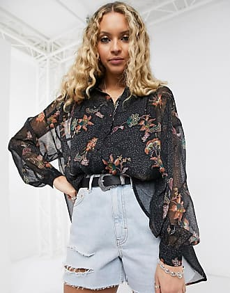 Object shirt in paisley print-Black
