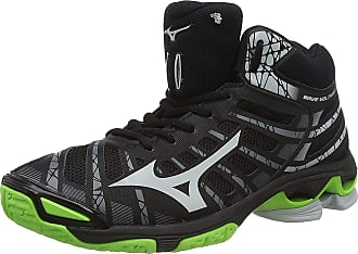 Mizuno Unisex Adults Wave Voltage MID Volleyball Shoes, Black (Black/High Rise/Green Gecko 37), 10 (44.5 EU)