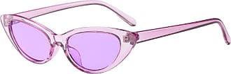 Inlefen Small Sunglasses Vintage Retro Extra Narrow Oval Round Skinny Cat Eye Sun Glasses Goggles (Purple C1)