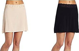 Vanity Fair Womens Body Foundation Half Slip 11072, Damask Neutral/Midnight Black, Large (24 Length)