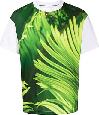 Fumito Ganryu Camiseta com estampa tropical contrastante - Branco