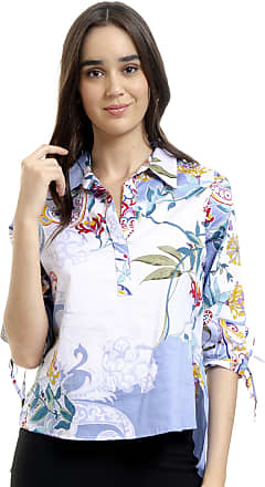 101 Resort Wear Camisa 101 Resort Wear Polo Tricoline Floral Azul
