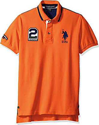 U.S.Polo Association Mens Embellished Slim Fit Pique Shirt, Light House Orange, Small
