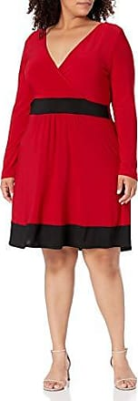 Star Vixen Womens Plus-Size Elbow Sleeve 2fer with 4-Row Stud Trim Detail 3X Black//red