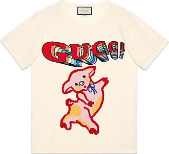 Gucci T-shirt oversize donna in cotone con maialino eb11d05fef5b